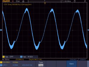 歪んでいる波形の例