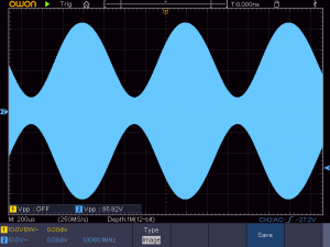 送信周波数:1008KHz 音声信号:1KHz正弦波 の時の波形