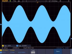 送信周波数:1620K 音声信号:1KHz正弦波 の時の波形