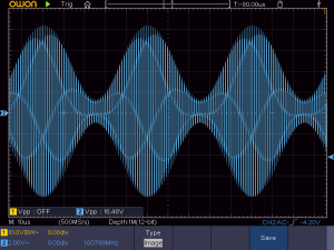 送信周波数:1008KHz 音声信号:20KHz正弦波 の時の波形