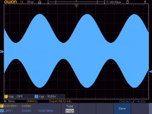 送信周波数:1008KHz 音声信号:20Hz正弦波 の時の波形