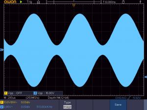 送信周波数:513K 音声信号:1KHz正弦波 の時の波形