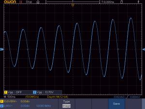 送信周波数:1008KHz 音声信号:無信号 の時の拡大波形