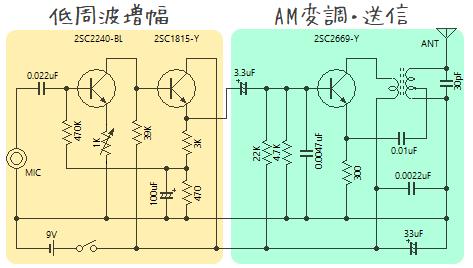 3石 AMワイヤレスマイクの回路図