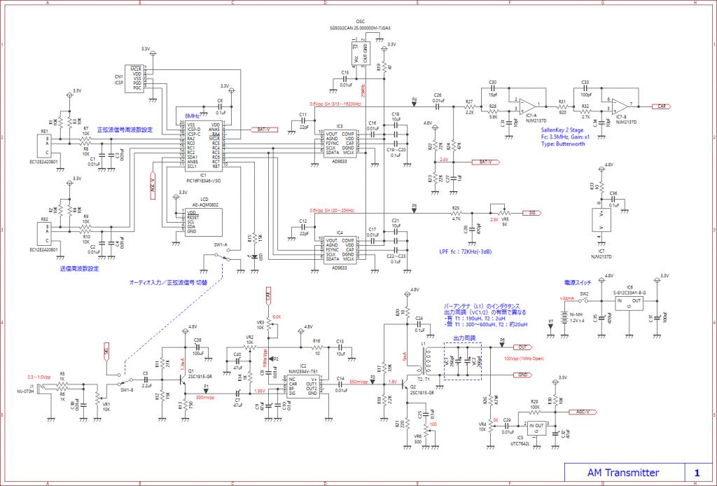 AM送信機(トランスミッター)の自作回路