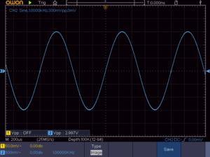8石スーパーラジオ出力波形(1KHz)