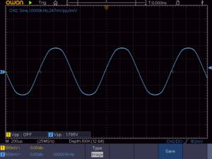 2SC1815をトランス式SEPP出力段に使った場合の出力波形