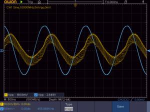 3石スーパーラジオ(レフレックス方式)の中間波出力波形