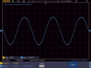 6石スーパーラジオ(中2低3増幅トランスレスタイプ)の出力波形1