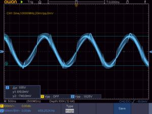 1石スーパーラジオ周波数変換部の出力波形