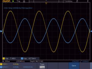 3石スーパーラジオ(中1低1増幅タイプ)の低周波出力波形