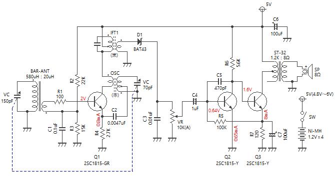 3石スーパーラジオ(低周波2段増幅タイプ)回路図