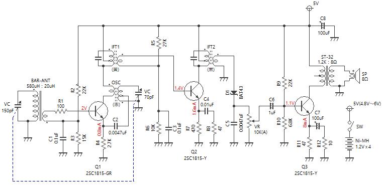 3石スーパーラジオ(中1低1増幅タイプ)回路図