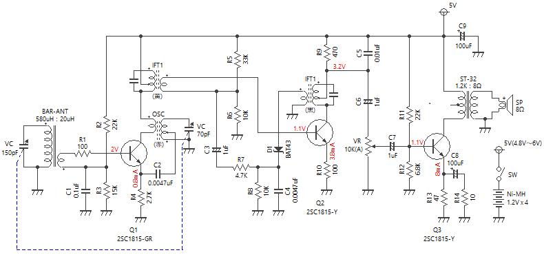 3石スーパーラジオ(レフレックスタイプ)回路図