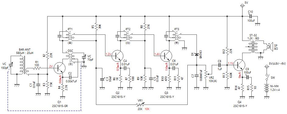 4石スーパーラジオ(中2低1増幅タイプ)回路図