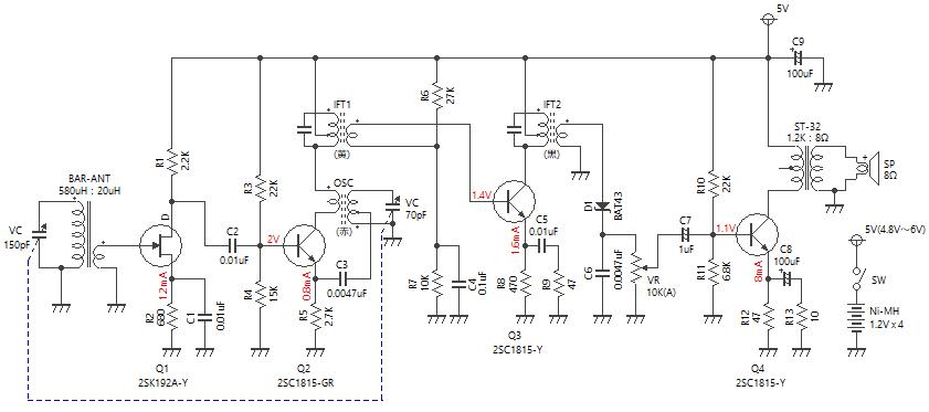 4石スーパーラジオ(高1中1低1増幅タイプ)回路図
