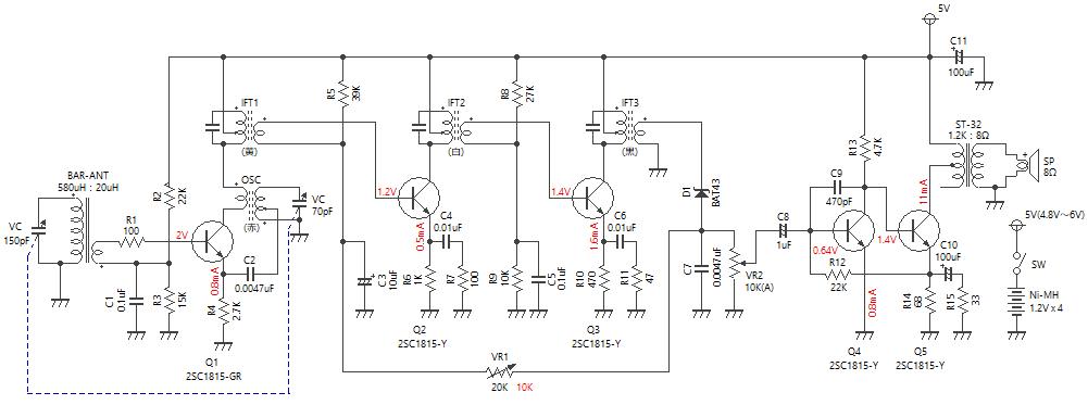 5石スーパーラジオ(中2低2増幅タイプ)回路図