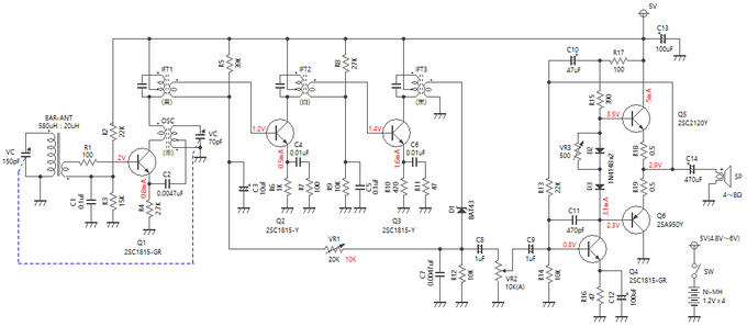 6石スーパーラジオ(中2低3増幅タイプ)回路図