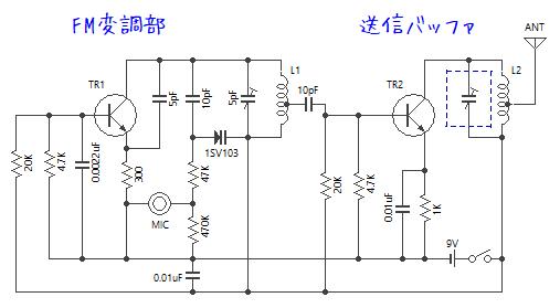 FMトランスミッター 可変容量ダイオードを利用した回路例
