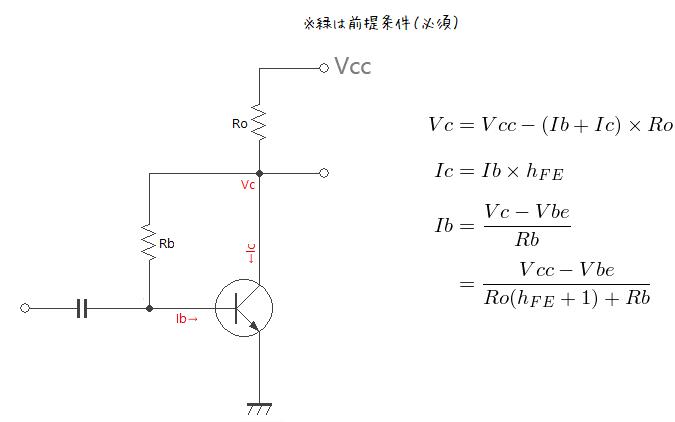 トランジスタ自己バイアス回路の計算