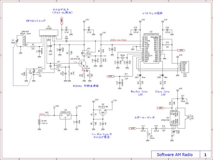 自作ソフトウェアラジオの回路図