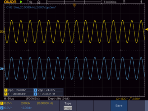 A-817RXIIの10W正弦波出力波形(20KHz)