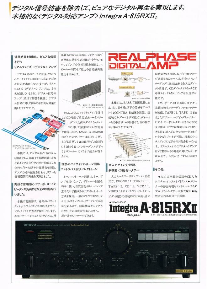 ONKYO Integra A-815RXII のカタログ