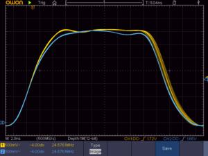 ジッタクリーナーの前と後のMCLK(24.5760MHz)
