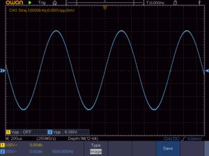 正弦波1KHz 無負荷時の波形