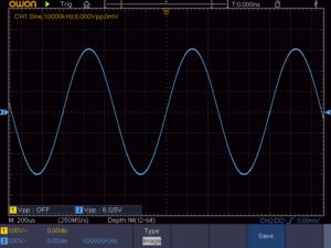 正弦波1KHz 4Ω負荷時の波形