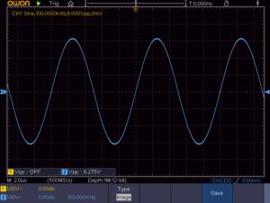 正弦波100KHz 無負荷時の波形