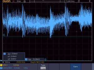 音楽再生時の電流波形