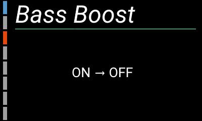 自作ハイレゾアンプの設定画面(バスブースト)