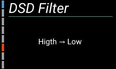 自作ハイレゾアンプの設定画面(DSD Filter)