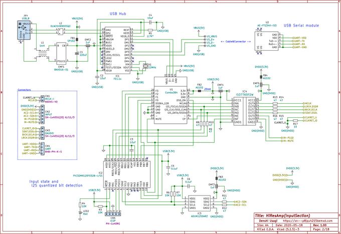 自作ハイレゾアンプの回路図(入力部)