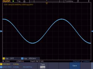 正弦波 50Hz 16Ω負荷時の波形