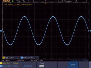 正弦波 1KHz 無負荷時の波形