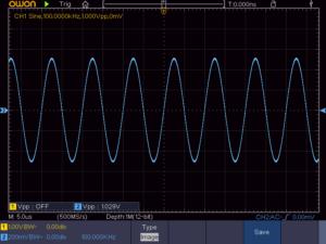 正弦波 100KHz 無負荷時の波形