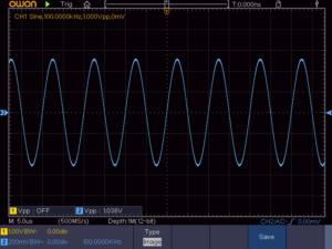正弦波 100KHz 16Ω負荷時の波形