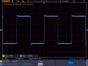 方形波 10KHz 16Ω負荷時の波形