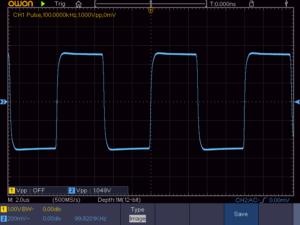 方形波 100KHz 16Ω負荷時の波形