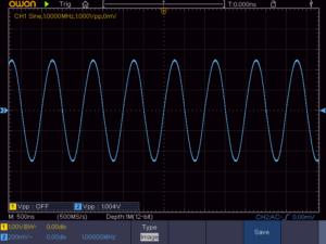 正弦波 1MHz 16Ω負荷時の波形